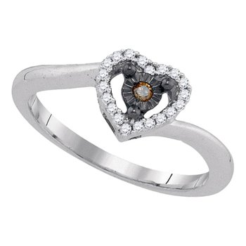 Sterling Silver Womens Round Cognac-brown Color Enhanced Diamond Heart Ring 1/10 Cttw