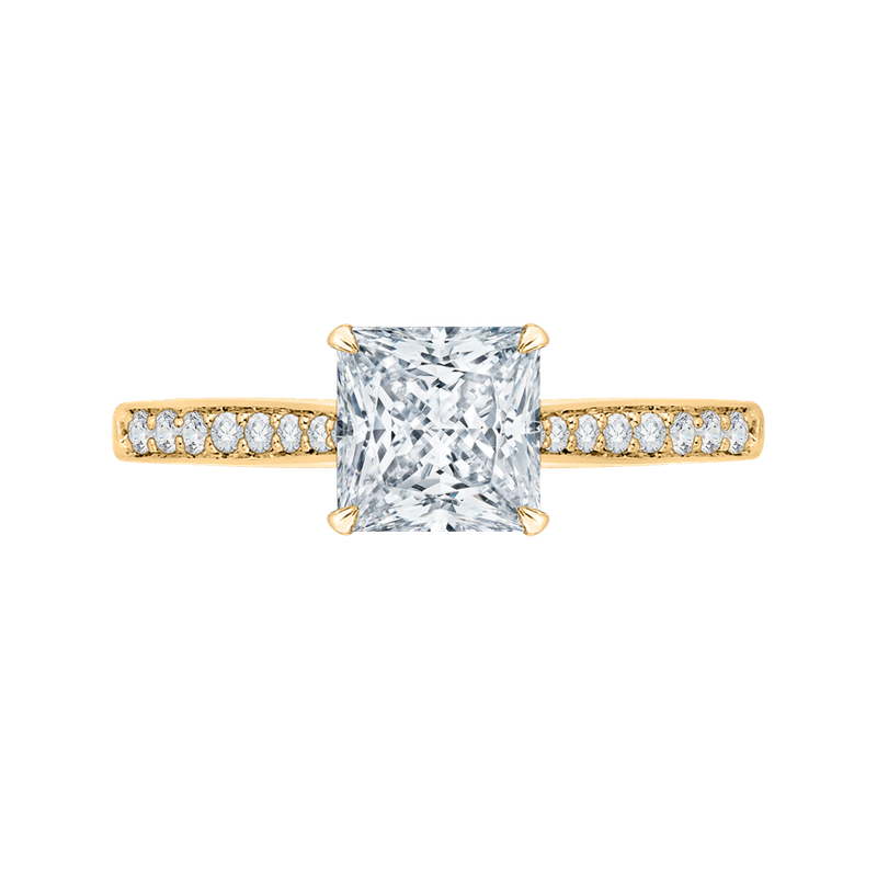 18K Yellow Gold Princess Cut Diamond Solitaire with Accents Engagement Ring (Semi-Mount)