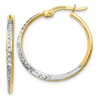 Leslie's 14k w/White Rhodium Diamond-cut Hinged Hoop Earrings