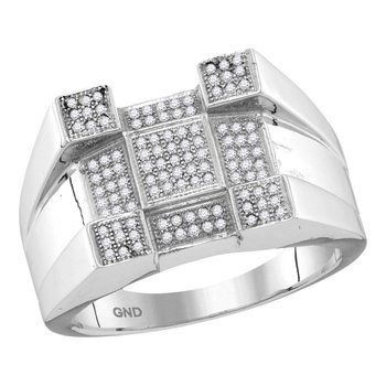 10kt White Gold Mens Round Diamond Square Corner Cluster Ring 1/2 Cttw