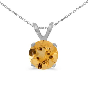 14k White Gold 6mm Round Citrine Stud Pendant (.60 ct)
