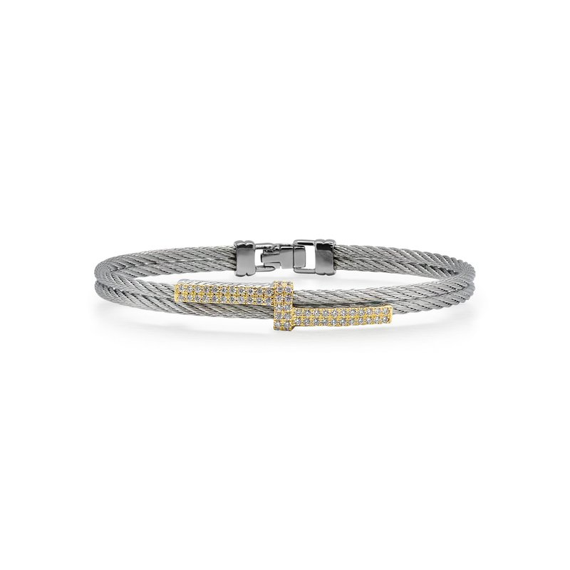 ALOR Grey Cable Opulence Bracelet with 18kt Yellow Gold & Diamonds