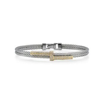 Grey Cable Opulence Bracelet with 18kt Yellow Gold & Diamonds