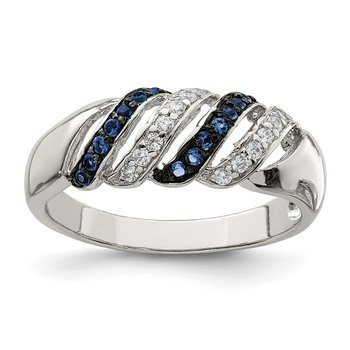 Sterling Silver Polished CZ & Blue Glass Stone Ring