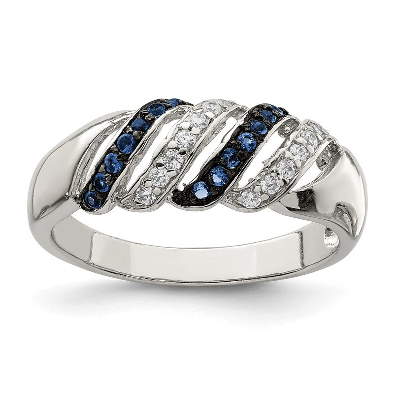 Quality Gold Sterling Silver Polished CZ & Blue Glass Stone Ring