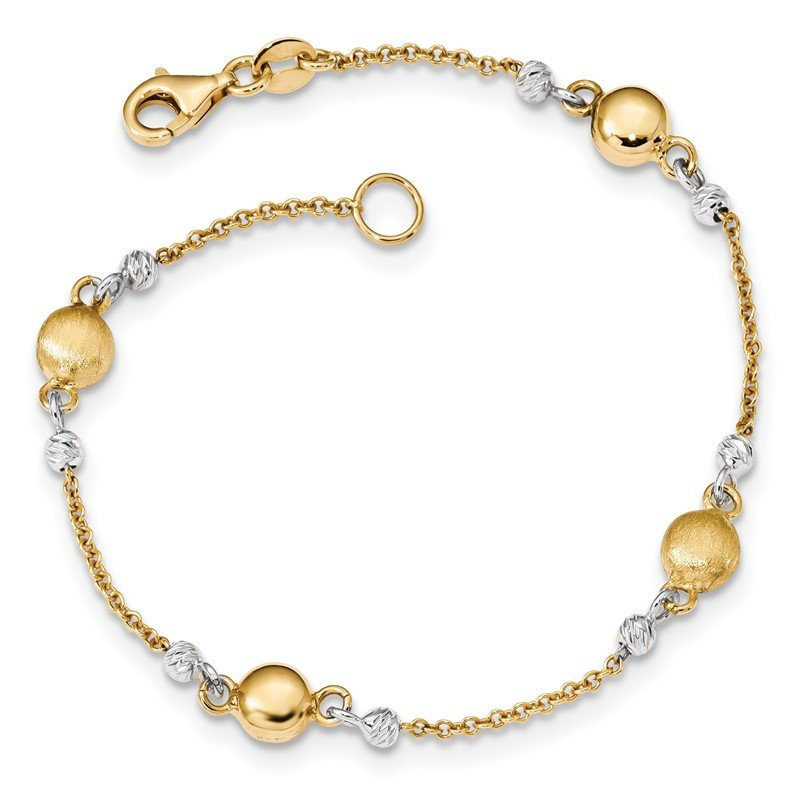 Quality Gold 14k Two-tone Textured Beaded 7.5 inch Bracelet