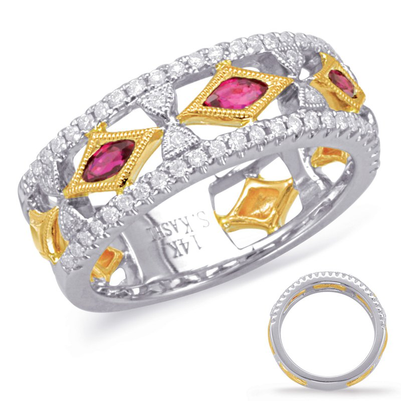 S. Kashi  & Sons Yellow & White Gold Ruby & Diamond Ring