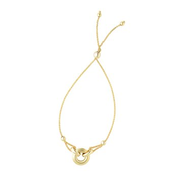 14K Gold Round DIsc Friendship Bracelet