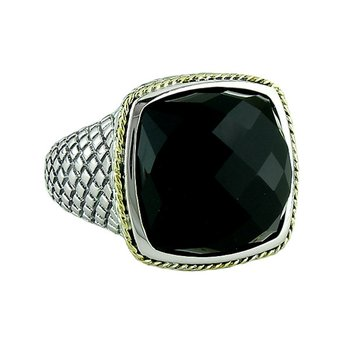 18kt and Sterling Silver Cushion Black Onyx Ring