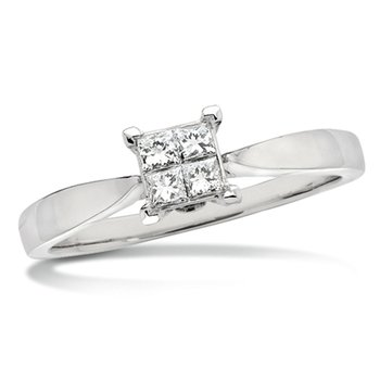 Invisible set Princess cut Diamond Solitaire Engagment ring in 14k White Gold (5/8ct. tw.)