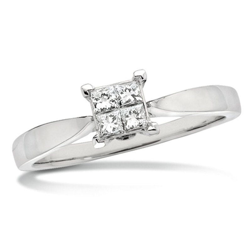 SDC Creations Invisible set Princess cut Diamond Solitaire Engagment ring in 14k White Gold (5/8ct. tw.)