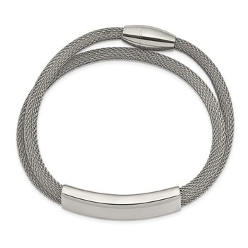 Stainless Steel Polished Mesh 2-Strand Adjustable ID Bracelet