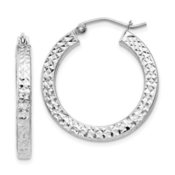 Sterling Silver Rhodium-plated Diamond-cut 3x25mm Square Tube Hoop Earrings