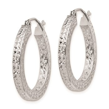 Sterling Silver RH-plated D/C 3x25mm Square Tube Hoop Earrings