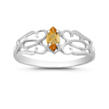 14k White Gold Marquise Citrine Filagree Ring