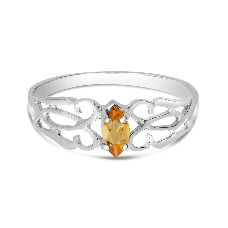 Color Merchants 14k White Gold Marquise Citrine Filagree Ring