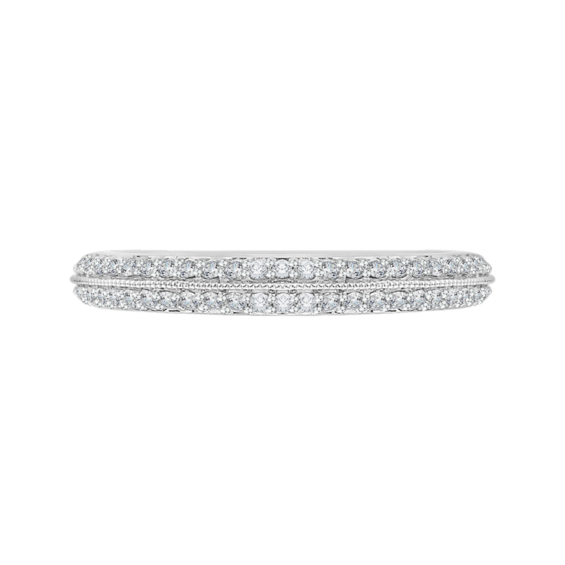 18K White Gold Euro Shank Diamond Wedding Band