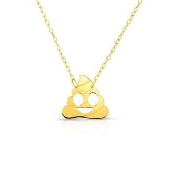 14K Gold Poop Roymoji Necklace
