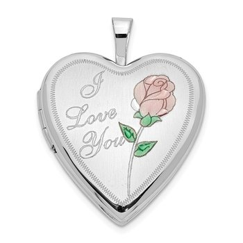 14K 20mm White Gold Enamel Rose I LOVE YOU Heart Locket