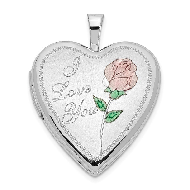 Quality Gold 14K 20mm White Gold Enamel Rose I LOVE YOU Heart Locket