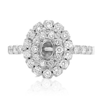 Oval Double Halo Engagement Setting