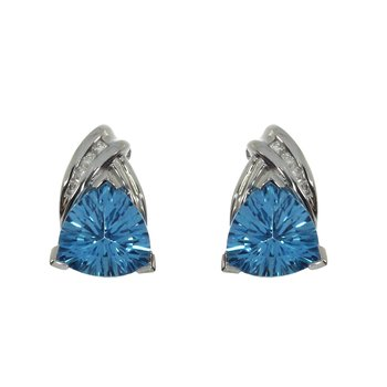 14k Blue Topaz Triangle and Diamond Stud Earrings