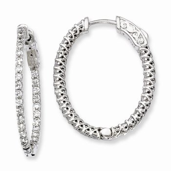 Sterling Silver Rhodium-plated CZ Hinged Oval Hoop Earrings