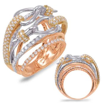 White & Yellow & Rose Gold Fashion Ring