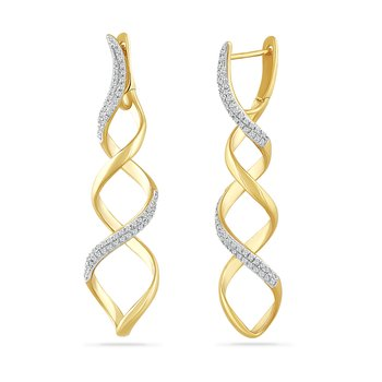 14K multi shape drop earring with 130 diamonds 0.37CT