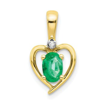 10K Diamond and Emerald Pendant