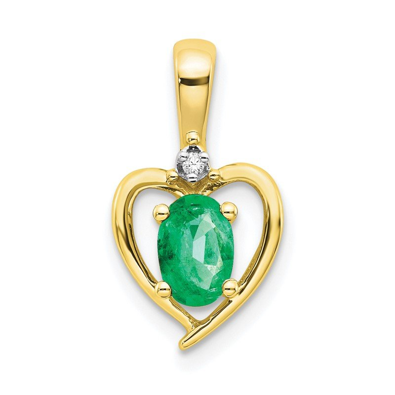 J.F. Kruse Signature Collection 10K Diamond and Emerald Pendant