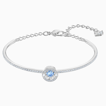 Swarovski Sparkling Dance Bangle, Blue, Rhodium plated