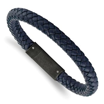 Stainless Steel Brushed Blue Leather Braided 8.5in Bracelet
