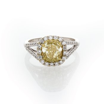 FANCY YELLOW CUSHION 1.79CT