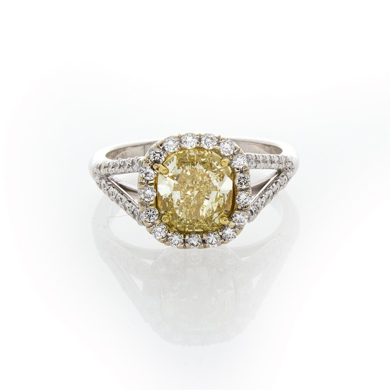 William Levine FANCY YELLOW CUSHION 1.79CT