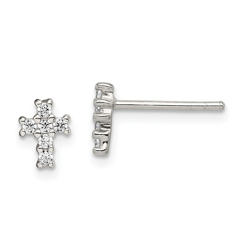 Sterling Silver Polished CZ Cross Post Earrings