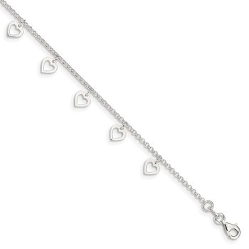 Sterling Silver Polished Heart 9 in Plus1in ext. Anklet