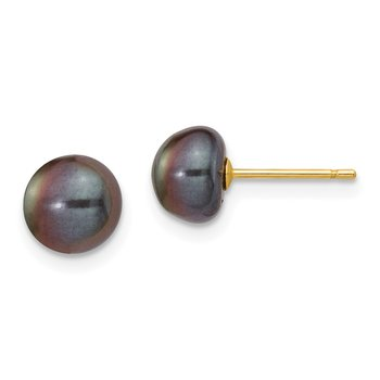 14k 7-8mm Black Button FW Cultured Pearl Stud Post Earrings