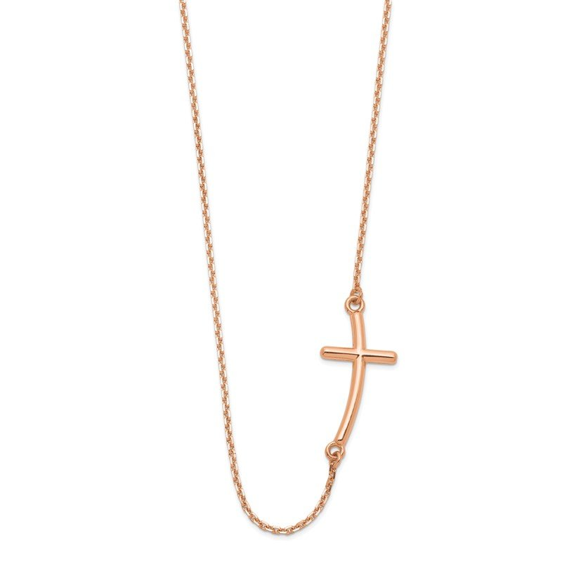 Quality Gold 14k Rose Gold Large Sideways Curved Cross Necklace