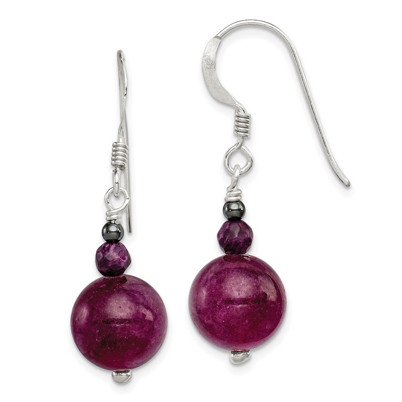Quality Gold Sterling Silver Purple Coral, Hematite and Purple Jade Earrings