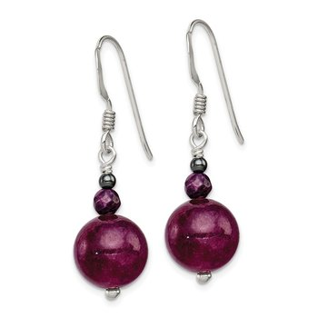 Sterling Silver Purple Coral, Hematite and Purple Jade Earrings