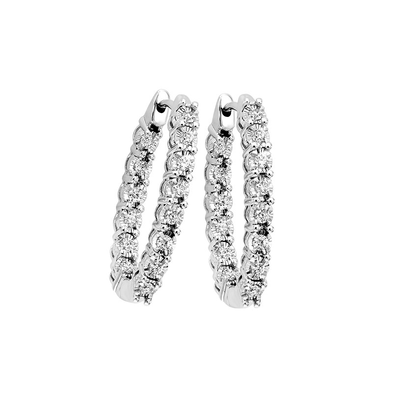 Gems One Diamond Inside Out Starburst Chunky Oval Hoop Earrings in 14k White Gold (1 ctw)