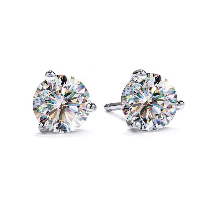 Fire Polish Diamonds 3 Prong Martini Studs 1 1/2 CTTW