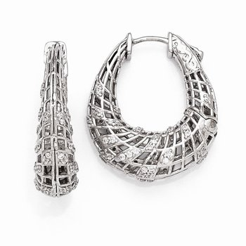 Sterling Silver Rhodium Plated CZ Small Oval Hinged Hoop Earrings