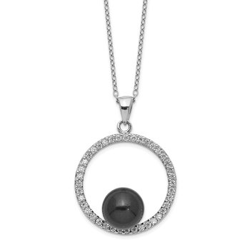 Sterling S Majestik Rh-plated 8-9mm Blk Imitat Shell Pearl CZ Necklace