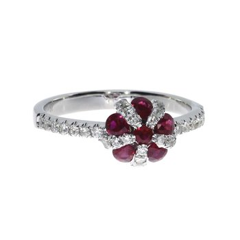 14k White Ruby Ball Ring