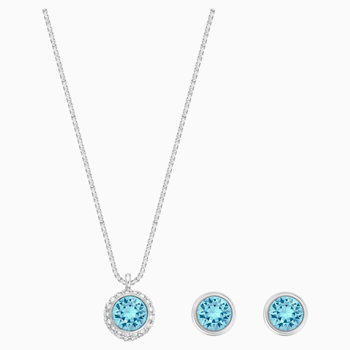 Flirt Set, Blue, Rhodium plated