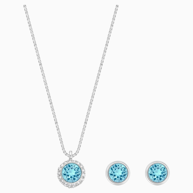 Swarovski Flirt Set, Blue, Rhodium plated