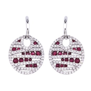 14k White Gold Ruby and Diamond Disc Earrings