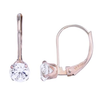 14k Cubic Zirconia Leverback Earrings
